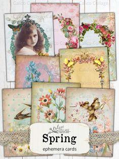 cardmaking Flowers Printable Vintage romantic circle digital collage sheet vintage images paper goods scrapbooking tags set of 6