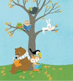 Reading books together Autumn Illustration, Kawaii Illustration, I Love Books, My Books, Cat Reading, Reading Books, Mood Images, Lectures, Painting For Kids