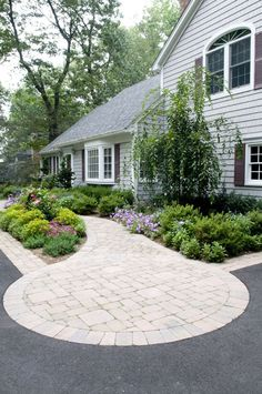 Front yard landscape and stone front walk design
