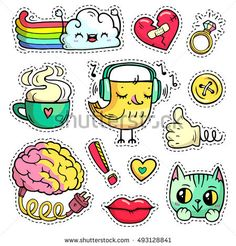 Colorful patch badges with fashion elements and animals. Hand-drawn stickers, pins in cartoon 80s 90s comic style. Set with rainbow, cloud etc. Brain with electric cable. Embroidery designs. Part 1