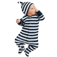 Newborn Baby Clothing Boy Girl Footed Rompers Striped Baby Romper Long Sleeve Sleep Clothes Pajamas New born Baby Product #Affiliate