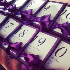 Self Standing Elegant Purple and Black Linen Table Numbers Purple Wedding Tables, Purple And Silver Wedding, Purple Table, Purple Wedding Invitations, Wedding Reception Tables, Wedding Table Numbers, Red Wedding, Wedding Colors, Wedding Ideas