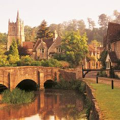 A view of the river and bridge, Castle Combe, Wiltshere...my dad took me here when I was 18! I love the Cotswolds.