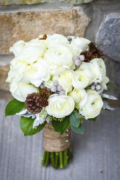 White Bridal Bouquet | Teal Photography | TheKnot.com