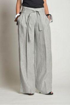Linen Women's Pants Elastic Waist Summer Loose Fit Beach Wide Leg Linen Pants Full Length Bell Bottom