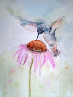 New humming bird tattoo water color hummingbird painting ideas Watercolor Hummingbird, Hummingbird Art, Watercolor Water, Watercolor Flowers, Humming Bird Watercolor, Image Tatoo, Painting & Drawing, Watercolor Paintings, Painting Tattoo