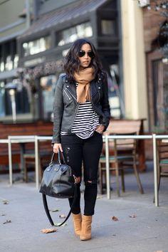 Leather, stripe shirt, black jeans, brown scarf