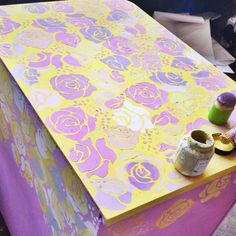 www.thebohemians.fr Clashing color boho chic chest done in Henrietta and English Yellow Chalk Paint™ by Annie Sloan. Stencilled with Annie Sloan Roses Stencil. Gilding to follow.