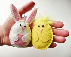Easter Bunny and Chick Ornaments Set of TWO wool by MySweetLizzy, $16.00