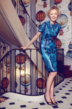 (Rhapsodie Pencil Dress - anthropologie.com) - but I like the staircase, wallpaper and floor