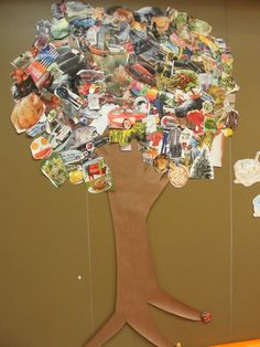 Natural resource tree for 3rd grade: all pictures (cut from magazines) either are natural resources, are made from natural resources, or run on natural resources.