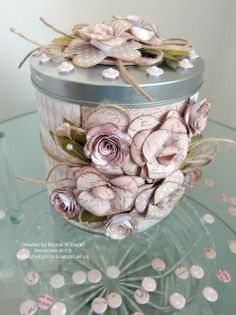 The Art of Paper Floristry.by Emma Williams Altered Tins, Altered Bottles, Altered Art, Tin Can Crafts, Diy And Crafts, Diy Paper, Paper Crafts, Recycle Cans, Craftwork Cards