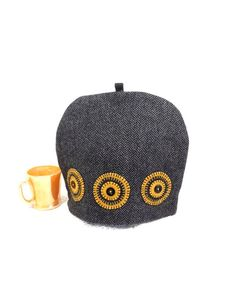 Gray mustard teacozy Black herringbone Wool tea pot cosy Hand stitched pennies Circles Mans tea cosy Tweed teapot cover Modern teacozy