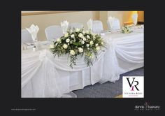 #Wedding reception #bridal #table #flowers top table white simple