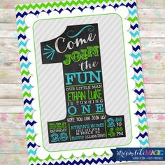 1st Birthday Invitation the big ONE number one Boy Chalkboard Green Blue Navy Invite with Chevron