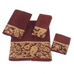 This sheared velour towel set is constructed of 100-percent cotton with embellished borders for a touch of added elegance. The set consists of a bath towel, and hand towel, a washcloth and a fingertip