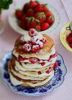 Raspberry White Chocolate Chip Pancakes with Cream Cheese Glaze