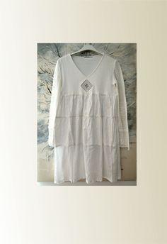 white cotton dress boho long sleeves crochet by smArtville on Etsy
