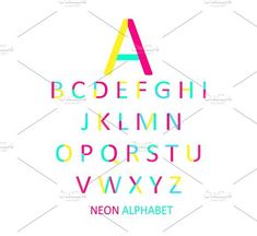 Font pink, yellow and neon vector. Colorful Fonts