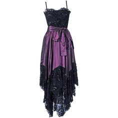 Pre-owned 1970's Yves Saint Laurent Black Sequin-Lace & Purple Silk... ($1,400) ❤ liked on Polyvore