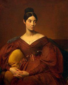 """Auguste Hyacinthe Debay """"Portrait de Madame Crucy"""" Soeur de l'artiste Vers 1832 - Mode Louis Philippe Robe Couleur Puce"""