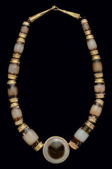 Gold and agate bead necklace, Greek or South Arabian, c. 300 A.D.
