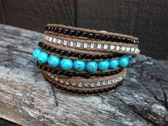 Wrap Around Turquoise Silver Beaded Bracelet by salmoninthebeak, $65.00