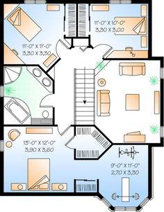 Narrow Lot Plan: 1,751 Square Feet, 3 Bedrooms, 2 Bathrooms - 034-00518 Narrow Lot House Plans, Best House Plans, House Floor Plans, Custom Home Designs, Custom Homes, Plan Chalet, Mezzanine Floor, Sims House Design, Tiny House Living