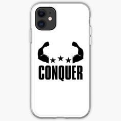 'Conquer - Motivational Typography Quote And Saying' iPhone Case by Typography Quotes, Iphone Case Covers, Cover Design, Iphone 11, Classic T Shirts, Motivational, Printed, Awesome, Shop