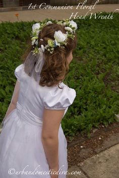 The Urban Domestic Diva: CRAFTS: Make a First Communion Flower Wreath Headpiece