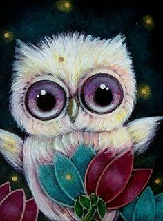 Coruja e as duas flores | OWL Art by Cyra R Cancel♥♥