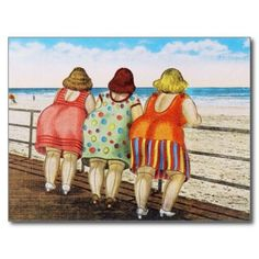 Vintage Illustrations - Shop Vintage Fat Bottomed Girls at Beach Postcard created by VintagerieEphemera. Personalize it with photos Beach Posters, Fat Women, Drawing People, Belle Photo, Drawing Tutorials, Funny Quotes, Funny Humor, Funny Stuff, Cartoon