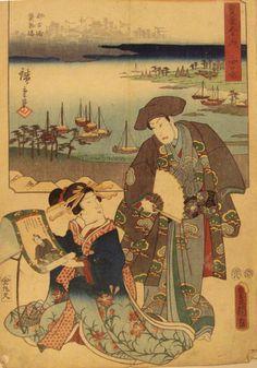 Toyokuni Edo Period Japan Harbor Scene