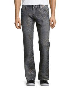 Faded Animal-Print Denim Jeans, Dark Gray, Size: 33 - Robin's Jean
