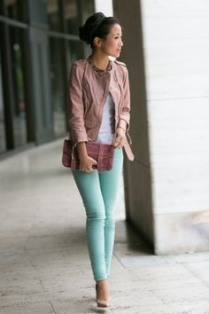 I'm sure I've pinned this before, but I don't care :) Cute for a casual date night :) Pastel Macarons :: Rose cropped jacket Mint jeans : Wendys Lookbook