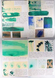 Painting Experiments Sketchbook Pages - Cez: Art Lessons, Art Journal Inspiration, Sketchbook Layout, Sketches, Art, Sketchbook Journaling, Art Journal, Book Art, Art Portfolio