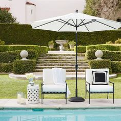 Williams-Sonoma Home features outdoor dining sets, furniture and accessories. Find stylish outdoor home decor and outdoor dining chairs at Williams-Sonoma. Porch Furniture, Outdoor Lounge Furniture, Outdoor Dining, Outdoor Spaces, Outdoor Patios, Outdoor Pergola, Patio Dining, Pergola Ideas, Outdoor Patio Umbrellas