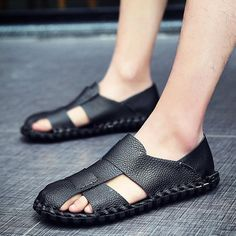 d5dbc7a620a0 Men Soft Cow Leather Hand Stitching Casual Shoes Hollow Out Sandals