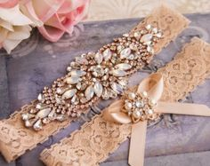 Rose Gold Wedding Garter Set Blush Wedding Garter Bridal