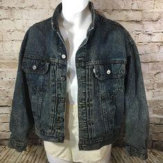 Vintage 90s Levi SilverTab Trucker Denim Jean Jacket Dark Acid Wash Medium #Levis #JeanJacket