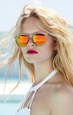 caa27912584 LE FASHION BLOG NASTY GAL SUMMER LOOK BOOK CAT EYE MIRRORED SUNGLASSES  ORANGE YELLOW LENS WHITE