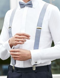 Elegant wedding style for your groom. Steel blue suspenders and bow tie. – Ermioni Elegant wedding style for your groom. Steel blue suspenders and bow tie. Elegant wedding style for your groom. Steel blue suspenders and bow tie. Suspenders Outfit, Bowtie And Suspenders, Groom Outfit, Groom Attire, Groom Suits, Wedding Men, Wedding Suits, Elegant Wedding, Wedding Styles
