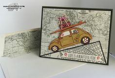 Stamps-N-Lingers.  SU! Beautiful Ride stamp set on Going Places DSP. http://stampsnlingers.com/2016/01/29/stampin-up-enjoy-a-beautiful-ride/
