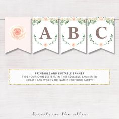 Printable floral banner template, couples baby shower, bridal ...