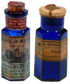 Apothecary Bottles, Antique Bottles, Vintage Bottles, Bottles And Jars, Vintage Labels, Glass Bottles, Agatha Christie, Old Medicine Bottles, Cobalt Glass