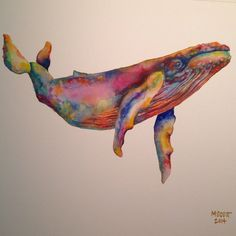 Humpback 4   watercolor now available on etsy