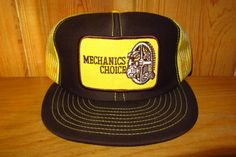 74c0f012f5a MECHANICS CHOICE Vintage 80s Dark Brown with Yellow Mesh Trucker Snapback  Hat USA made Promo Cap Old School Throwback Auto Parts Ballcap