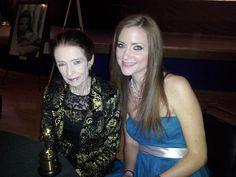 Enjoying the Oscars with Margaret O'brien.