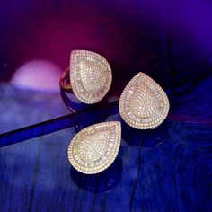 Classic pear motif earring and ring set with alternating pave and baguettes! Jewelry Sets, Fine Jewelry, Jewellery, Jewelries, Druzy Ring, Pear, Diamond Earrings, Luxury Fashion, Diamonds