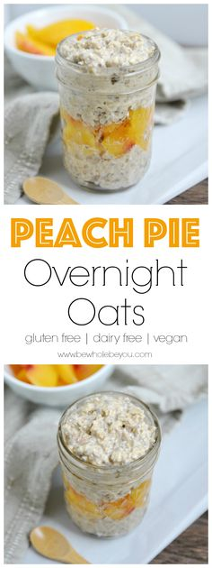 These Peach Pie Overnight Oats are a simple make ahead breakfast that will be waiting for you in the morning. Easy as pie! Just when I thought there were no other flavors for overnight oats, Paleo Overnight Oats, Peach Overnight Oats, Overnight Breakfast, Diet Breakfast, Breakfast Recipes, Breakfast Ideas, Breakfast Sandwiches, Superfood, Oatmeal Recipes
